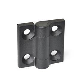 GN 437.3 Hinges, Zinc die casting, with spring-loaded return Type: R2 - Spring-loaded return, opening, medium spring force<br />Color: SW - black, RAL 9005, textured finish