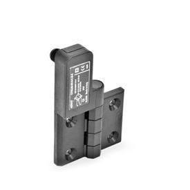 GN 239.4 Schaltscharniere mit Anschlussstecker Kennzeichen: SL - Bohrungen für Senkschraube, Schalter links<br />Form: CS - Anschlussstecker hinten
