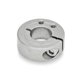 GN 7062.1 Geschlitzte Edelstahl-Stellringe, mit Anbau-Gewindebohrungen Form: B - Anbau-Gewindebohrung, axial