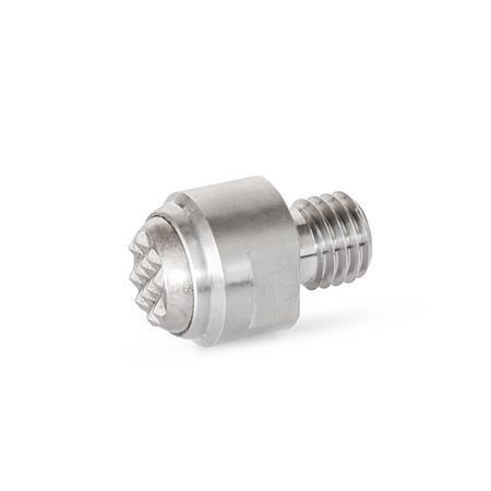 GN 709.15 Bases de apriete oscilantes de acero inoxidable, con espárrago roscado Tipo: RH - Superficie de contacto estriada, con esfera metálica rígida