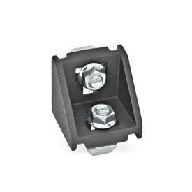 GN 960 Kulmapalat profiilijärjestelmille 30 / 40 / 45, alumiini Tyyppi: C - asennussarjalla, ilman kantta<br />Pinta: SW - musta, RAL 9005, teksturoitu viimeistely
