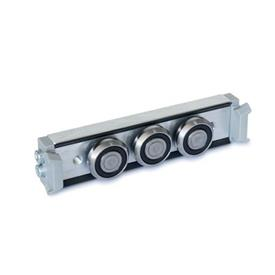 GN 2424 Rollenläufer Form: N - Normal-Rollenläufer, mittige Anordnung<br />Ausführung: X - mit Abstreifer für Festlager-Laufschiene (X-Schiene)