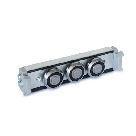 GN 2424 Rollenläufer Form: N - Normal-Rollenläufer, mittige Anordnung Ausführung: X - mit Abstreifer für Festlager-Laufschiene (X-Schiene)