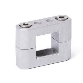 GN 231 Abrazaderas para tubos, aluminio d<sub>1</sub> / s<sub>1</sub>: V - Orificio cuadrado<br />Acabado: BL - natural, granallado mate