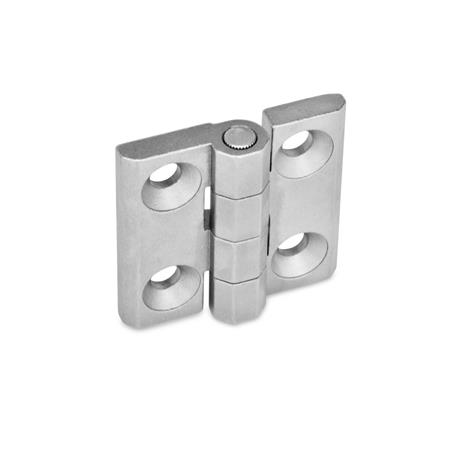 GN 237 Stainless Steel-Hinges Material: NI - Stainless Steel Type: A - 2x2 bores for countersunk screws