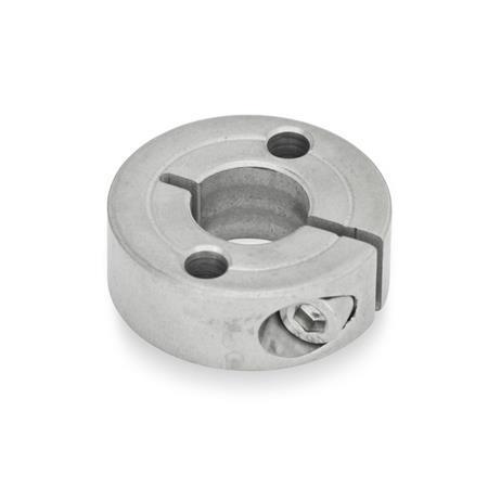GN 7062.2 Geschlitzte Edelstahl-Stellringe, mit Flanschbohrungen Form: A - mit zwei Durchgangsbohrungen