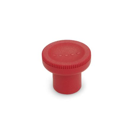 GN 676 Knurled knobs, Plastic Color: RT - red, RAL 3000