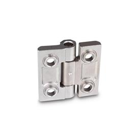 GN 237.3 Stainless Steel-Heavy duty hinges  Material: NI - Stainless Steel<br />Type: B - with bores for countersunk screws and centering attachments<br />Finish: GS - matte shot-blasted