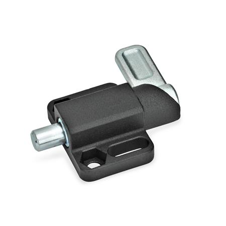 GN 722.3 Spring latches with flange for surface mounting Finish: SW - black, textured finish Type: R - right indexing cam