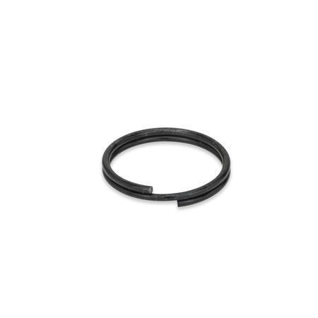 GN 111.3 Edelstahl-Schlüsselringe Oberfläche: SW - schwarz passiviert