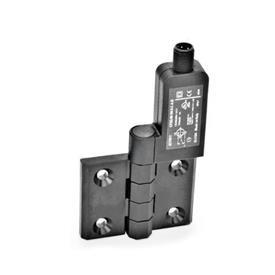 GN 239.4 Schaltscharniere mit Anschlussstecker Kennzeichen: SR - Bohrungen für Senkschraube, Schalter rechts<br />Form: AS - Anschlussstecker oben