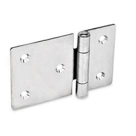 GN 136 Edelstahl-Blechscharniere, horizontal verlängert Werkstoff: NI - Edelstahl<br />Form: C - mit Senkbohrungen