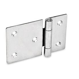 GN 136 Stainless Steel-Sheet metal hinges, horizontally elongated Material: NI - Stainless Steel<br />Type: C - with countersunk holes