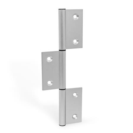 GN 2295 Hinges, for aluminum profiles / panel elements, three-part, vertically elongated outer wings Type: A - exterior hinge wings Identification no.: C - with countersunk holes