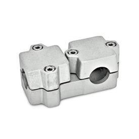GN 194 Abrazaderas de conexión en ángulo, aluminio d<sub>1</sub> / s<sub>1</sub>: B - Orificio redondo<br />d<sub>2</sub> / s<sub>2</sub>: B - Orificio redondo<br />Acabado: BL - natural, granallado mate