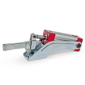 GN 860 Toggle Clamps, Pneumatic Type: EP - Solid clamping arm, with clasp for welding