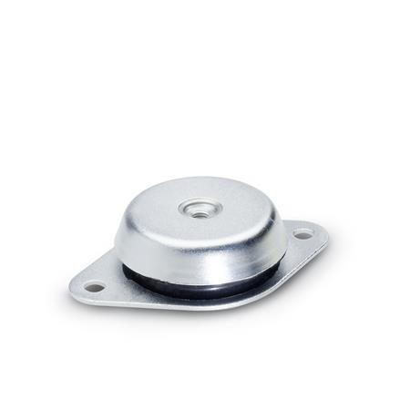 GN 148 Levelling feet with vibration dampening element Type: A - with two-hole flange (d1 = 60/90/113)