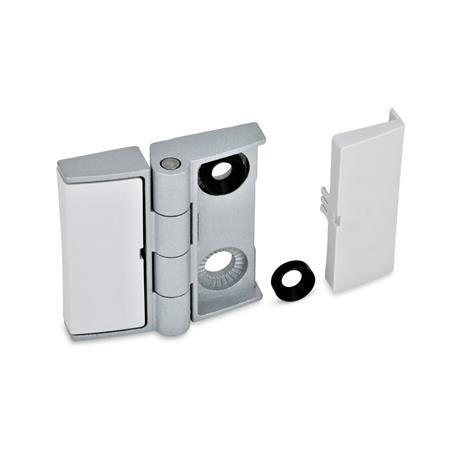 GN 238 Hinges, adjustable, Zinc die casting Type: BJ - adjustable on both sides Colour: SR - silver, RAL 9006, textured finish