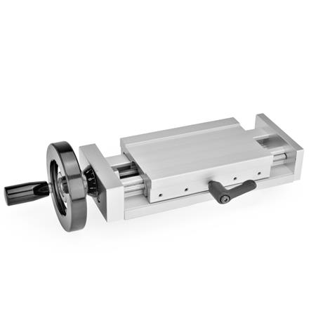 GN 900 Adjustable slide units, Aluminium Identification no.: 2 - with adjustable hand lever Type: H - with handwheel