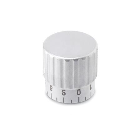 GN 436.1 Control knobs, Stainless Steel Type: S - with standard scale 0...9, 20 graduations