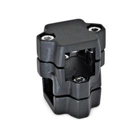 GN 134 Two-way connector clamps, multi part assembly, same bore dimensions d<sub>1</sub> / s<sub>1</sub>: V - Square<br />d<sub>2</sub> / s<sub>2</sub>: V - Square<br />Finish: SW - black, RAL 9005, textured finish