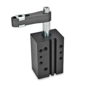 GN 875 Swing clamps, pneumatic, in block version