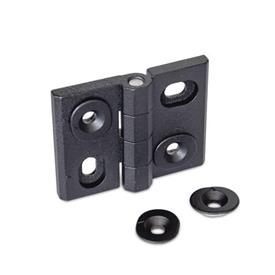 GN 127 Hinges, adjustable, Zinc die casting Type: HB - vertically and horizontally adjustable<br />Finish: SW - black, RAL 9005, textured finish