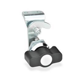 GN 115.8 Hakenverriegelungen, Betätigung mit Bedienlelementen Form: KG - Betätigung mit Knebel<br />Kennziffer: 2 - mit Gegenhalter<br />Oberfläche Anschlagring: CR - verchromt