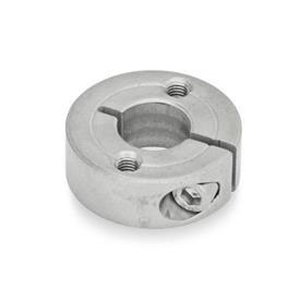 GN 7062.2 Geschlitzte Edelstahl-Stellringe, mit Flanschbohrungen Form: C - mit zwei Gewindebohrungen