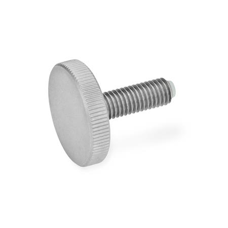 GN 653.10 Stainless Steel-Flat knurled screws with brass / plastic pivot Material (screw): NI - Stainless Steel Material (pivot): KU - Plastic  (Polyacetal POM)