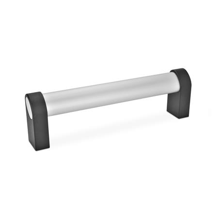 GN 335 Oval tubular handles, with inclined profile, Aluminum / Zinc die casting Type: A - Mounting from the back (threaded blind bore) Finish: EL - anodized, natural color