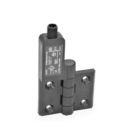 GN 239.4 Hinges with switch, with connector plug Identification: SL - Bores for contersunk screw, switch left Type: AS - Connector plug at the top