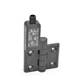 GN 239.4 Schaltscharniere mit Anschlussstecker Kennzeichen: SL - Bohrungen für Senkschraube, Schalter links<br />Form: AS - Anschlussstecker oben