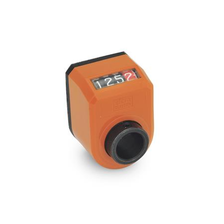 GN 954 Position indicators, digital, 4 digits Installation (Front view): AN - on the chamfer, above Color: OR - orange, RAL 2004