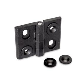 GN 127 Hinges, adjustable, Zinc die casting Type: H - vertically adjustable<br />Finish: SW - black, RAL 9005, textured finish