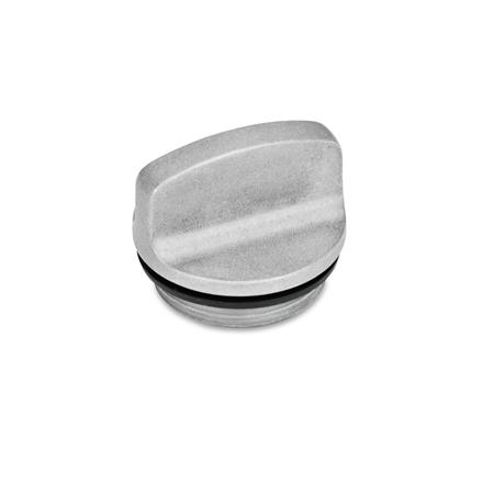 GN 441 Tapones roscados hasta 100 °C, aluminio Orificio de ventilación: 1 - sin orificio de ventilación Color: BL - natural, tamboreado