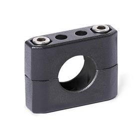GN 231 Abrazaderas para tubos, aluminio d<sub>1</sub> / s<sub>1</sub>: B - Orificio redondo<br />Acabado: SW - negro, RAL 9005, acabado texturado