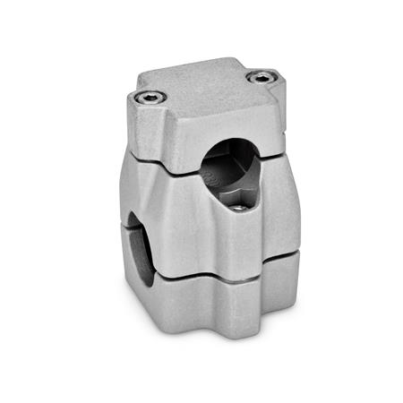 GN 135 Two-way connector clamps, multi part assembly, unequal bore dimensions Bore d<sub>1</sub>: B 30 Finish: BL - blank