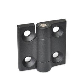 GN 437.4 Hinges, Zinc die casting, with detent Color: SW - black, RAL 9005, textured finish