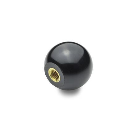 DIN 319 Pallonupit, muovi messinki-insertillä Materiaali: KU - Muovi Tyyppi: E - kierreholkilla Materiaali, holkki: MS - Messinki