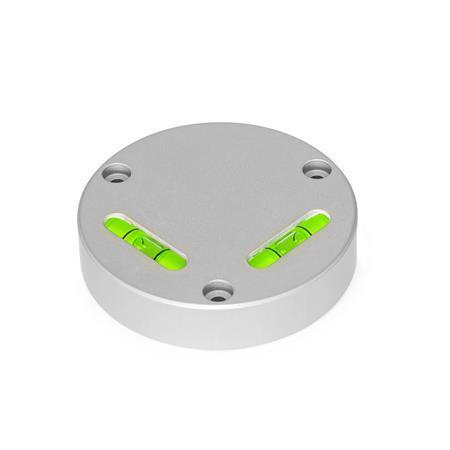 GN 2276 Kreuzlibellen, zum Anschrauben Empfindlichkeit: 50 - Winkelminuten, pro 2 mm Blasenweg Form: AV - ausgerichtet, Montage von der Vorderseite (nicht justierbar) Werkstoff / Oberfläche: ALN - eloxiert naturfarben