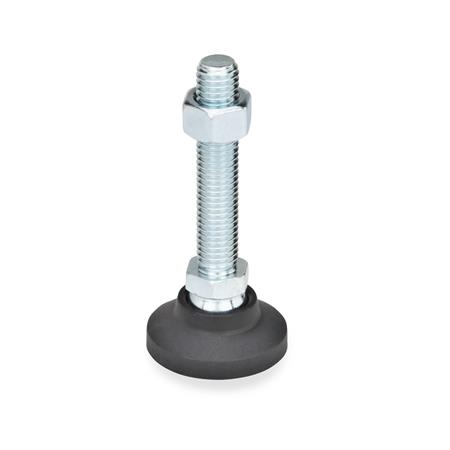 GN 343.4 Levelling feet, foot plastic / threaded stud steel Type: A - without rubber underlay