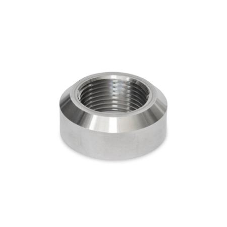 GN 7490 Stainless Steel-Welding sockets with and without collar Material: NI - Stainless Steel Type: A - with chamfer