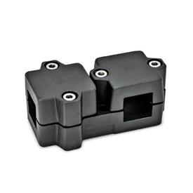 GN 194 Abrazaderas de conexión en ángulo, aluminio d<sub>1</sub> / s<sub>1</sub>: V - Orificio cuadrado<br />d<sub>2</sub> / s<sub>2</sub>: V - Orificio cuadrado<br />Acabado: SW - negro, RAL 9005, acabado texturado