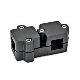 GN 194 Noix de serrage enT, aluminium d<sub>1</sub> / s<sub>1</sub>: V - Carré<br />d<sub>2</sub> / s<sub>2</sub>: V - Carré<br />Finition: SW - noir, RAL 9005, finition texturée