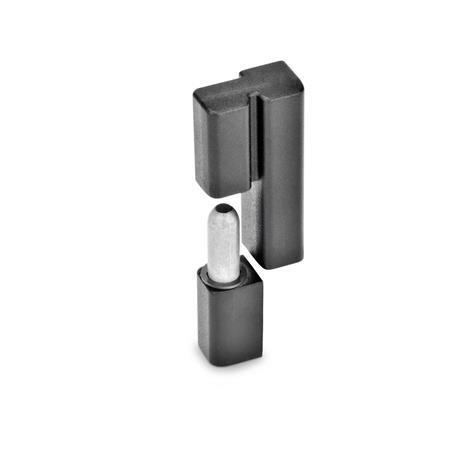 GN 161.2 Scharniere, Zink-Druckguss Farbe: SW - schwarz, RAL 9005, strukturmatt Form: L - festes Lager (Stift) links