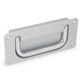 GN 425.8 Schalen-Klappgriffe Werkstoff Griff: CR - Stahl, verchromt<br />Oberfläche Schale: SR - silber, RAL 9006, strukturmatt