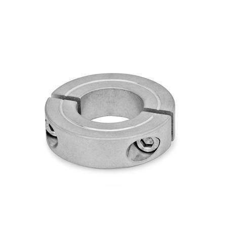 GN 707.2 Geteilte Stellringe, Stahl / Aluminium Werkstoff: AL - Aluminium