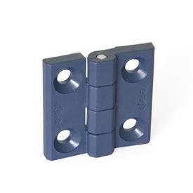 GN 237.1 Scharniere, detektierbar, FDA-konformer Kunststoff Form: A - 2x2 Bohrungen für Senkschrauben<br />Werkstoff / Oberfläche: MDB - metalldetektierbar
