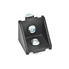 GN 961 Cornières pour systèmes de profilés 30/40, aluminium Type de cornière: C - avec kit d'assemblage, sans cache<br />Finition: SW - noir, RAL 9005, finition texturée